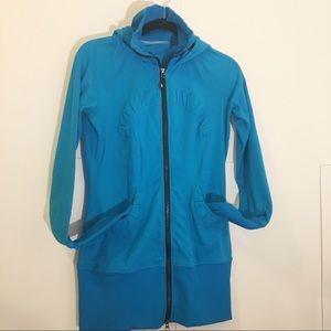 Lululemon stride hoodie jacket blue Ruched size 6